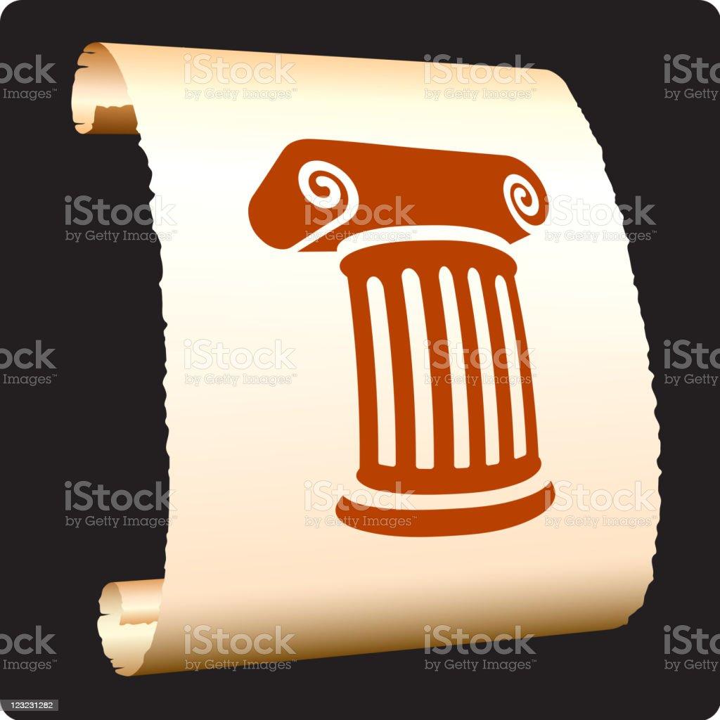 Classic Greek column on paper scroll royalty-free stock vector art