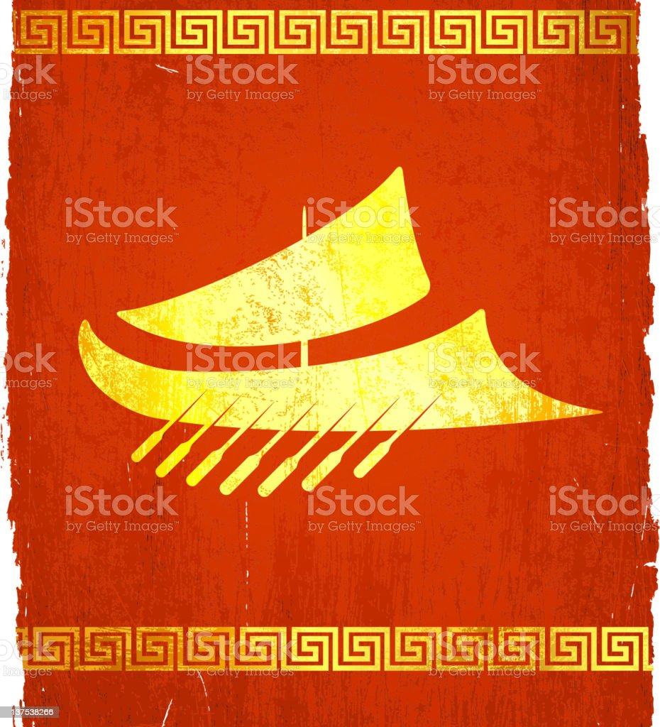 classic Greek Military ship on royalty free vector Background royalty-free stock vector art