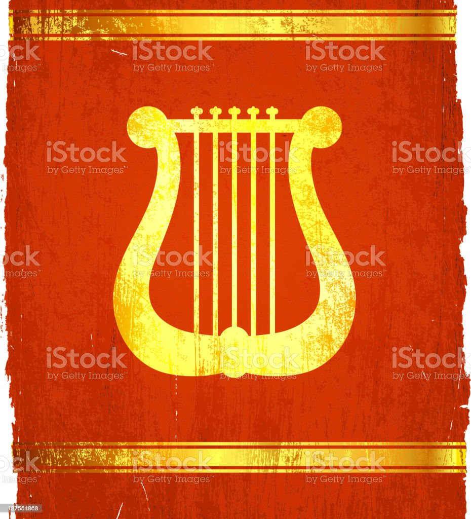 classic Greek Roman Lyre on royalty free vector Background royalty-free stock vector art