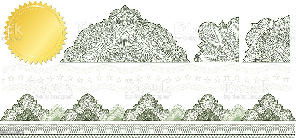 Classic guilloche elements for make diploma or certificate royalty-free stock vector art