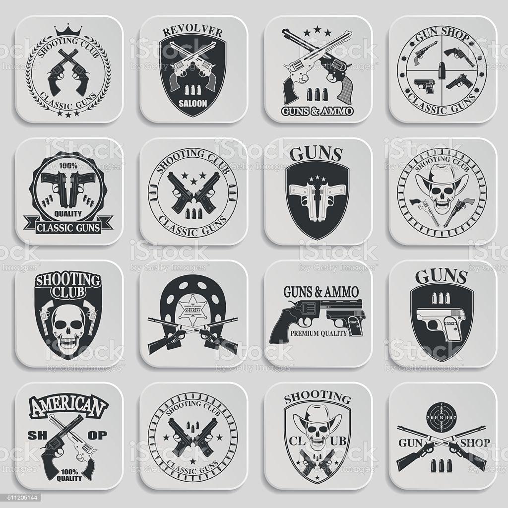 Classic Guns emblem vector art illustration