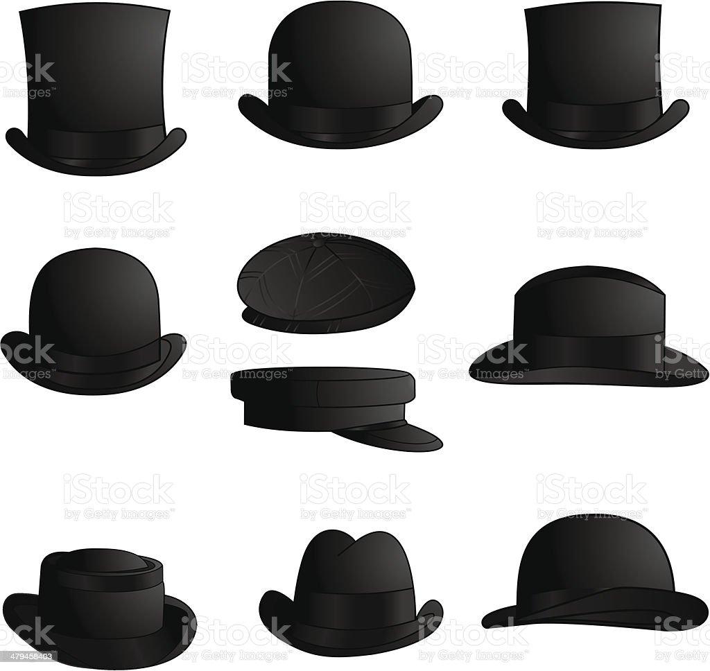 Classic Hats and Caps vector art illustration