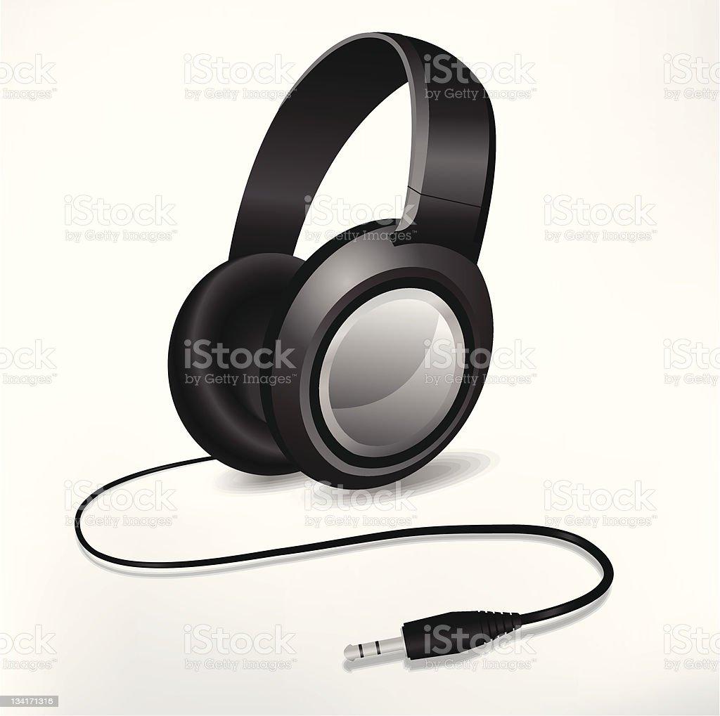 classic headphones with audio plug 3,5mm royalty-free stock vector art