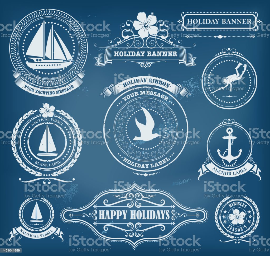 classic holiday labels vector art illustration