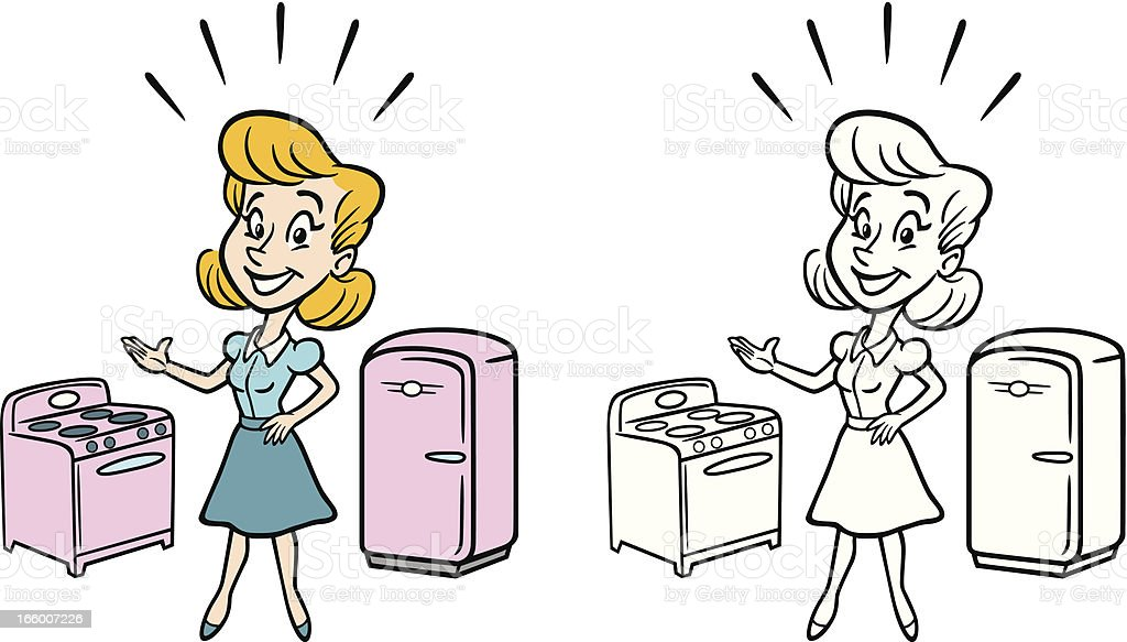 Classic Housewife With Stove And Fridge royalty-free stock vector art