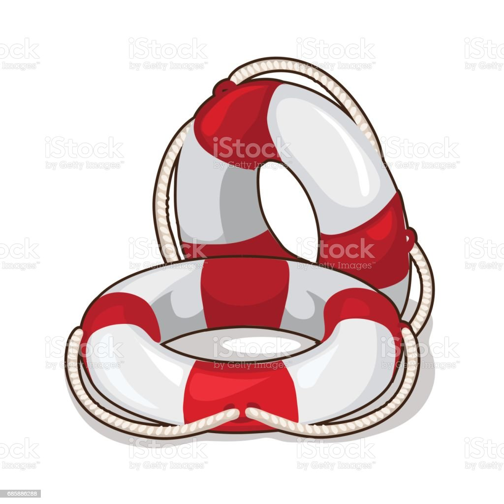Classic inflatable lifebuoy on a white background vector art illustration
