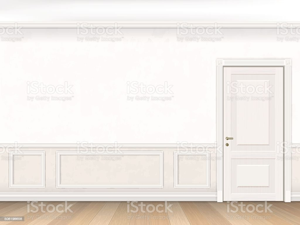 Classic interior in white color with door vector art illustration