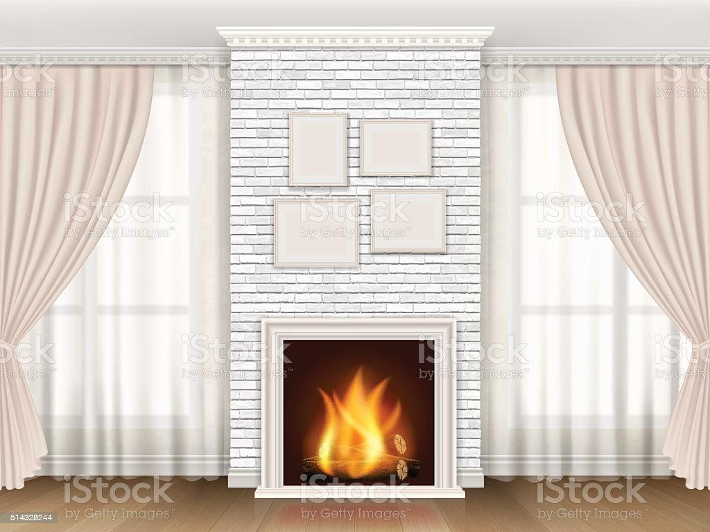 Classic interior with fireplace and windows curtains vector art illustration