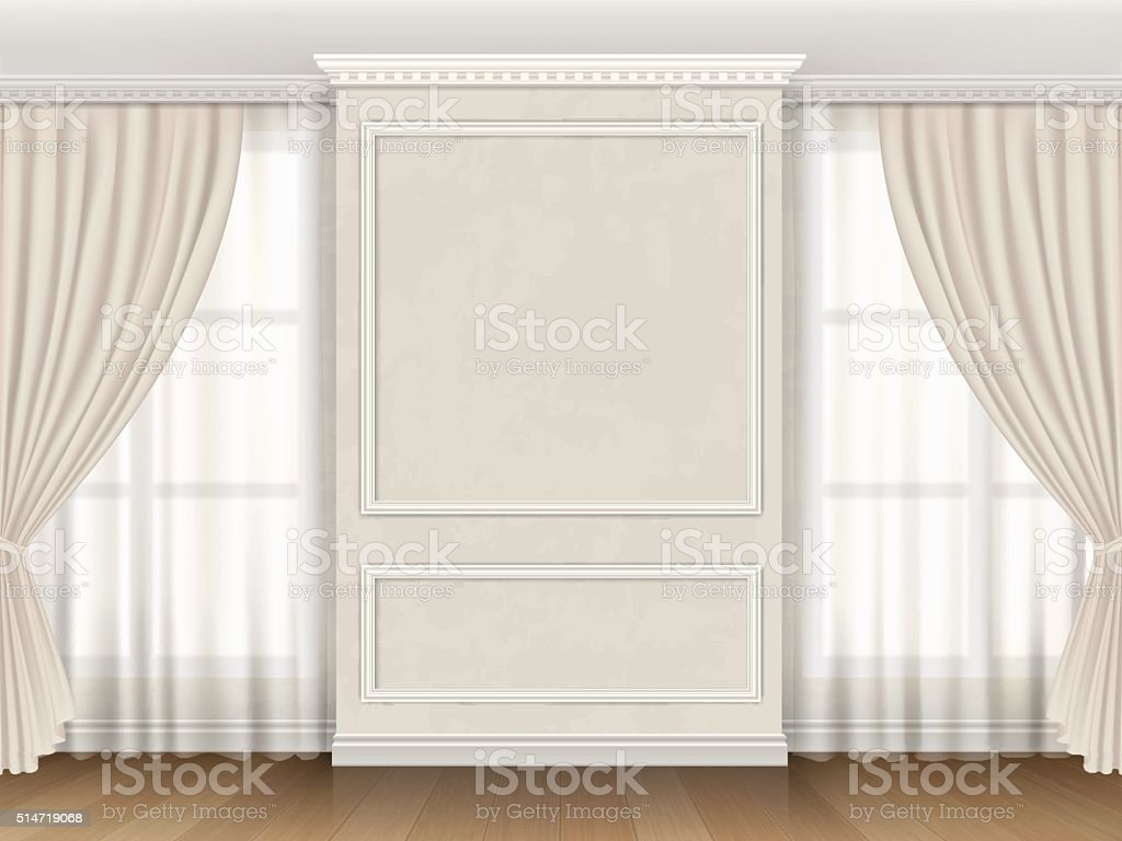 Classic interior with panel moldings and windows curtains vector art illustration
