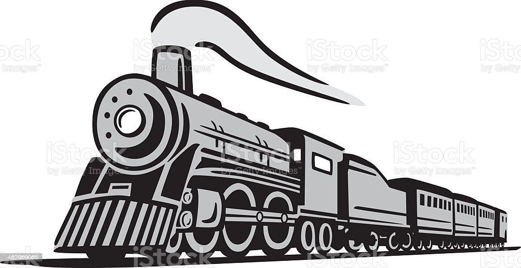 Classic Locomotive Train vector art illustration