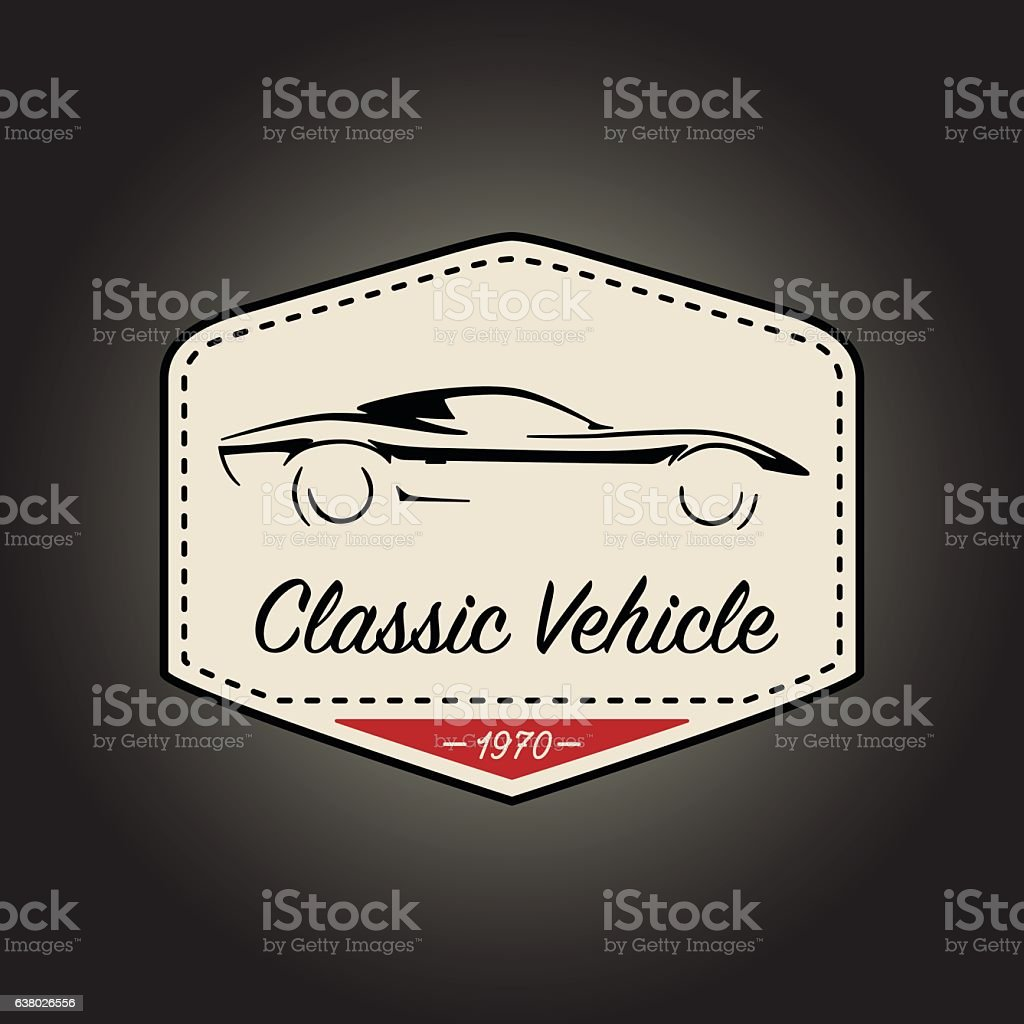 Classic logo of vintage sports vehicle icon design. Vector illustration. vector art illustration