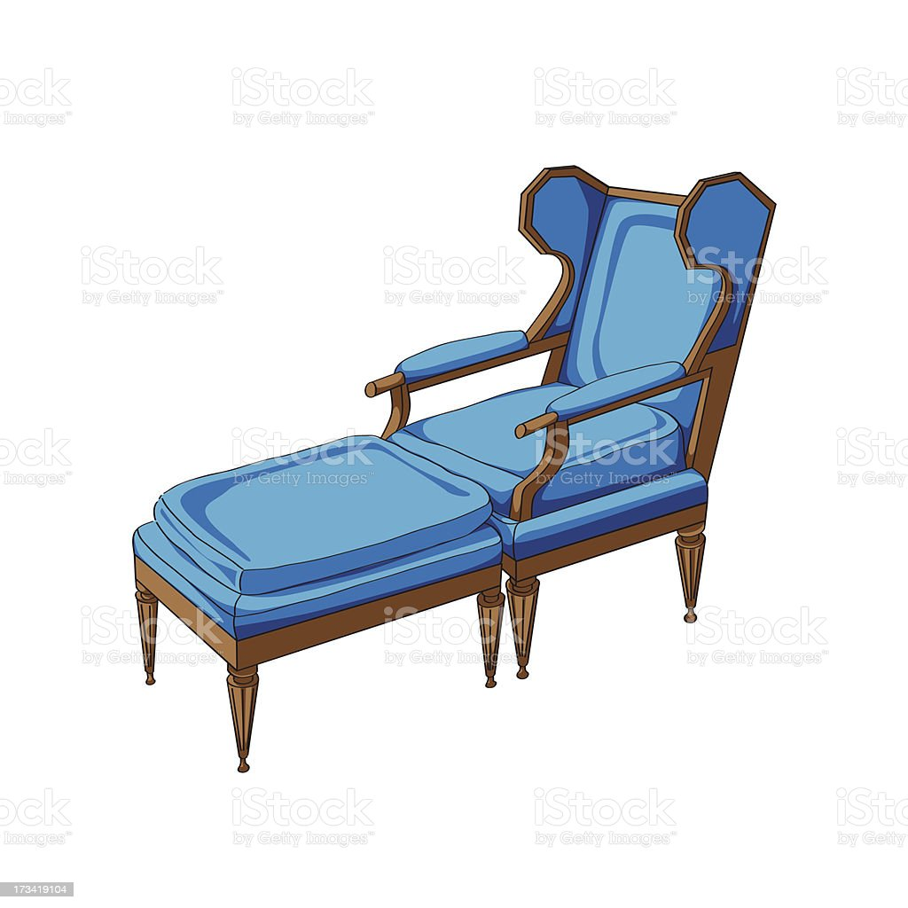 Classic lounge chair vector art illustration