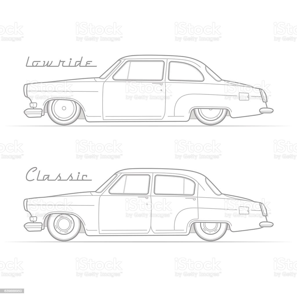 Classic low rider retro car vector image vector art illustration
