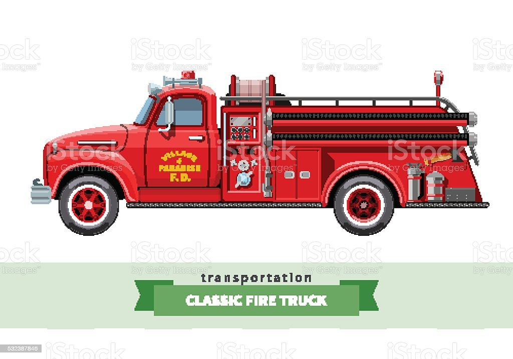 Classic medium duty fire truck side view vector art illustration