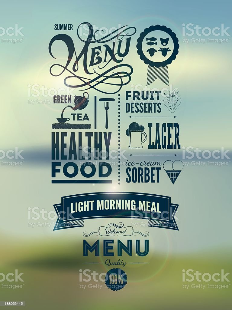 Classic menu layout for hip new restaurant royalty-free stock vector art