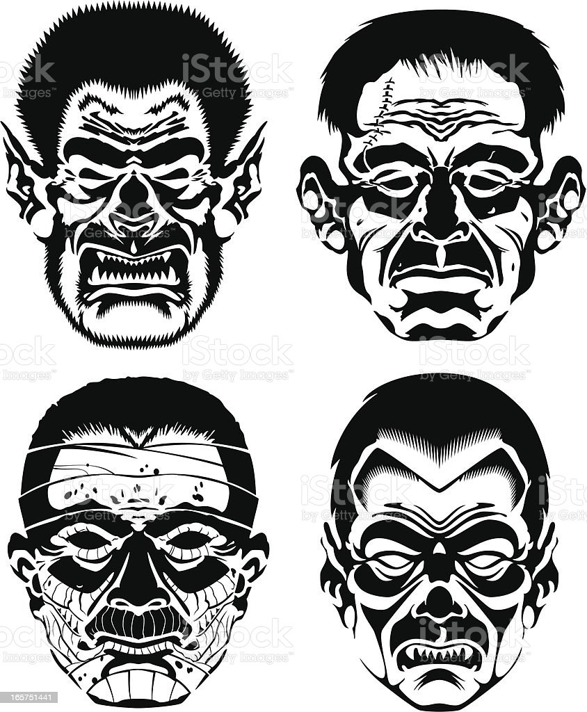 Classic Monsters BW royalty-free stock vector art
