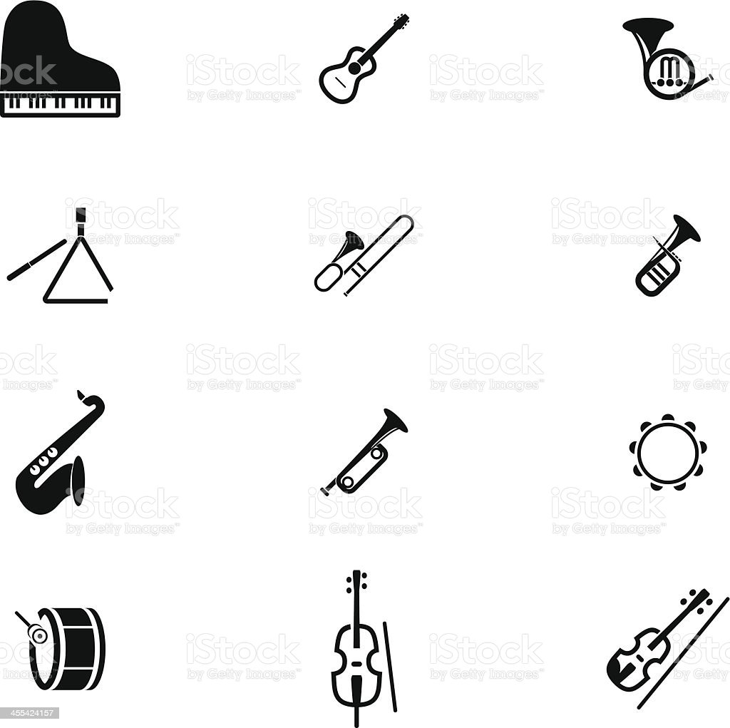 Classic Music Instrument Icon Set royalty-free stock vector art