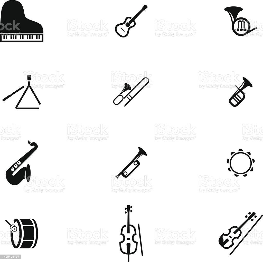 Classic Music Instrument Icon Set vector art illustration