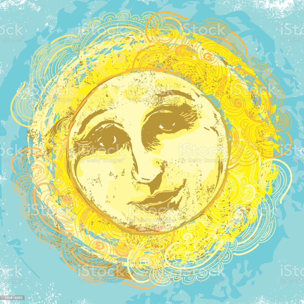 Classic old fashioned sun face design vector art illustration