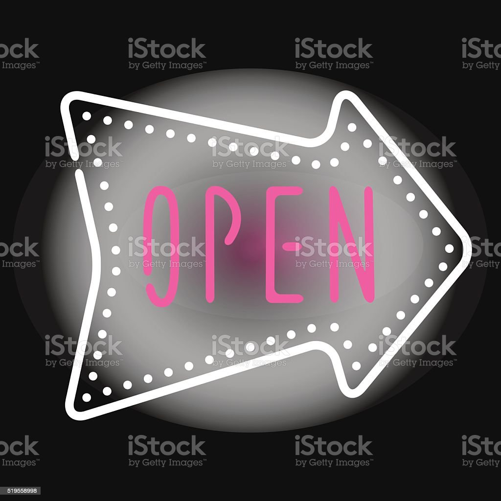 Classic open neon sign dark background business store shop vector vector art illustration