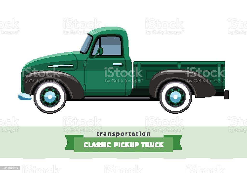 Classic pickup truck side view vector art illustration