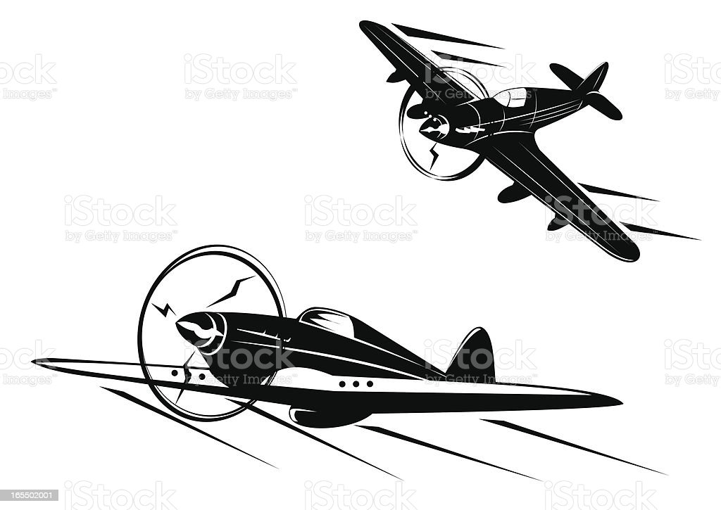 Classic planes - two views royalty-free stock vector art