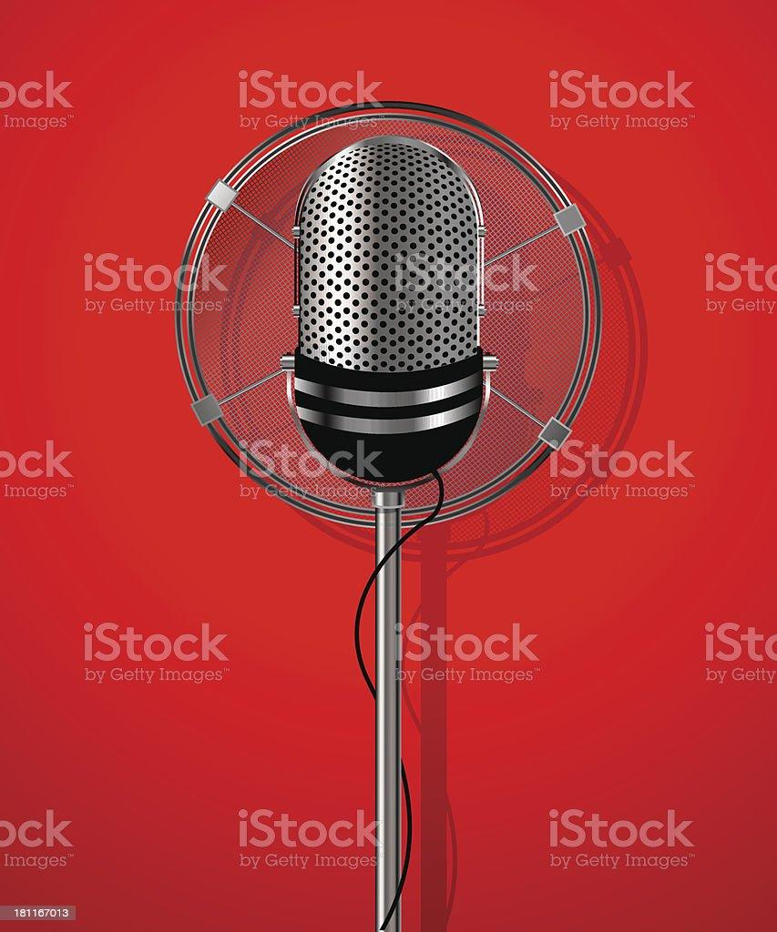 Classic radio microphone vector art illustration