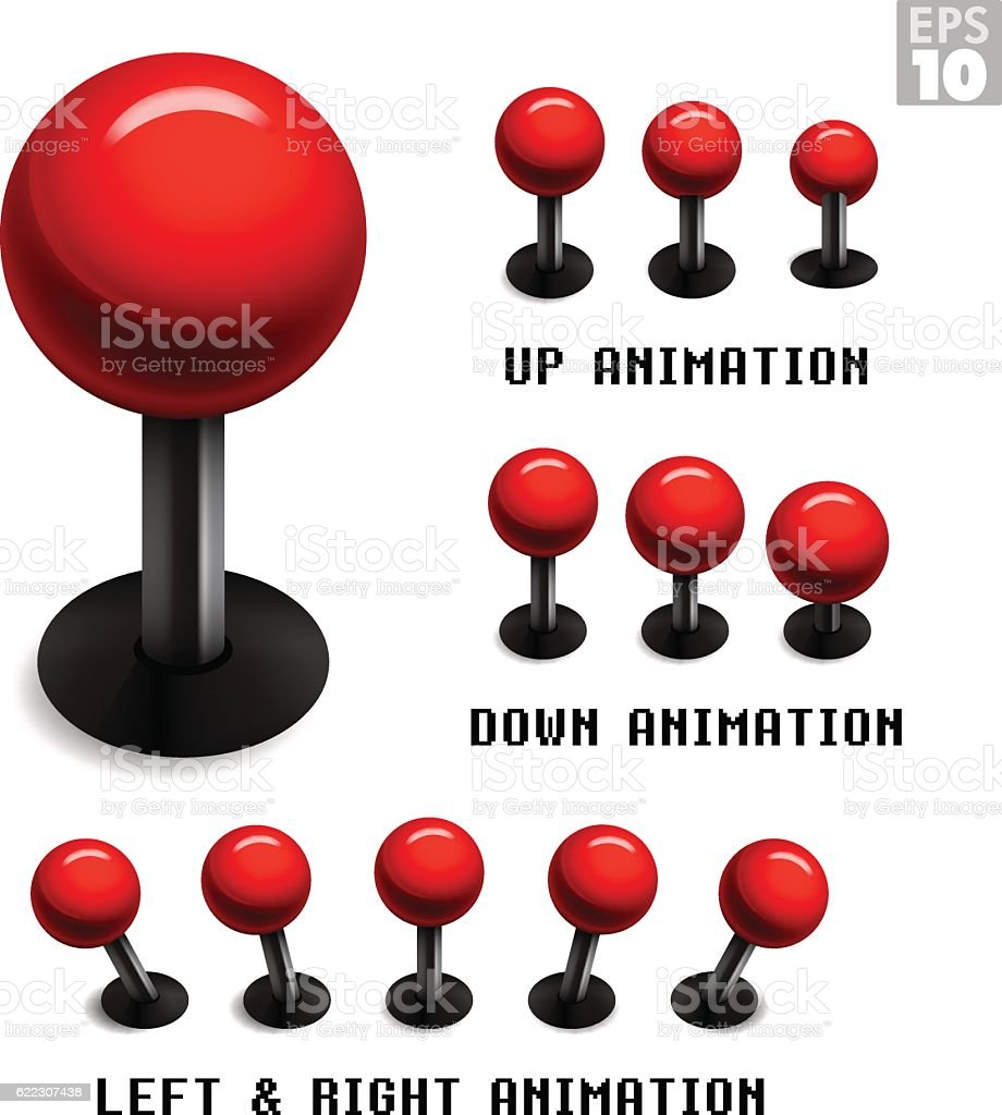 Classic red arcade game joystick with animated stills movements. vector art illustration