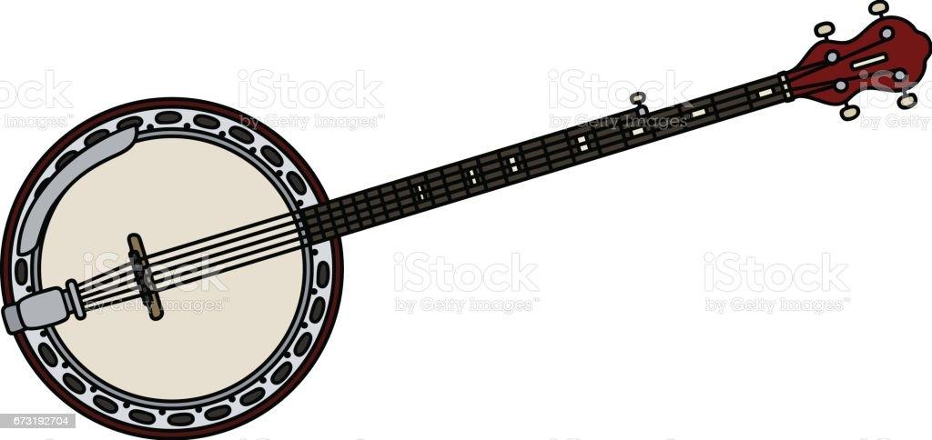 Classic red banjo vector art illustration