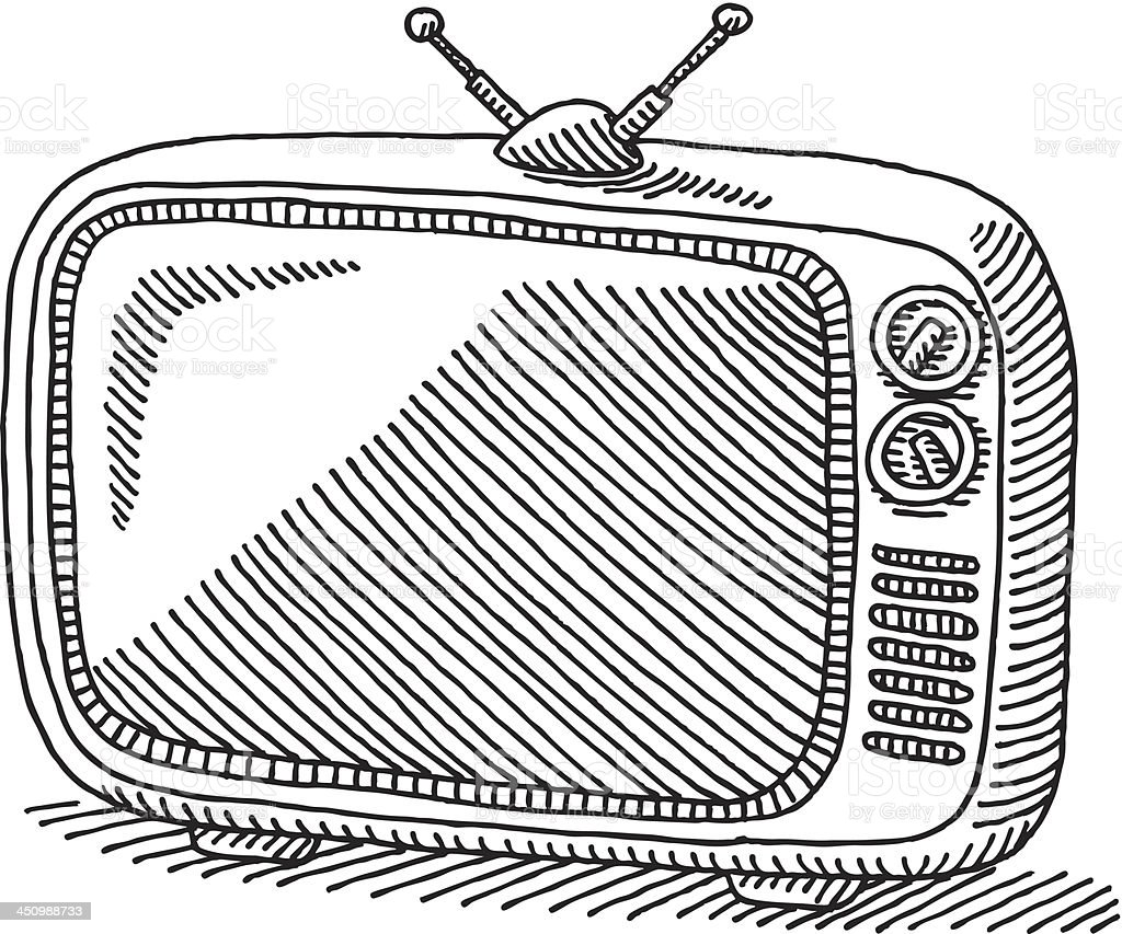 Classic Retro TV Drawing vector art illustration