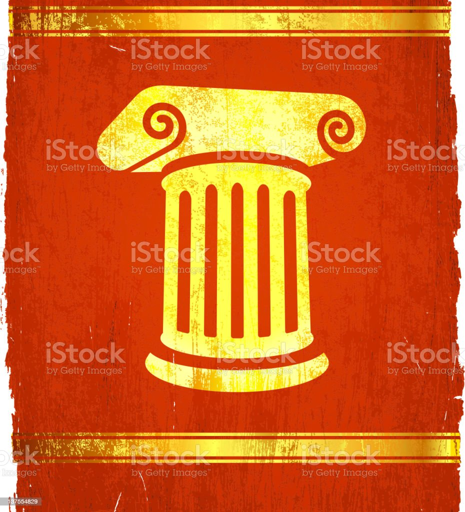 A classic Roman column on a poster. royalty-free stock vector art