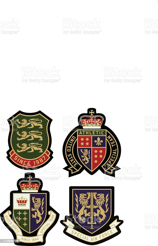classic royal emblem badge set vector art illustration