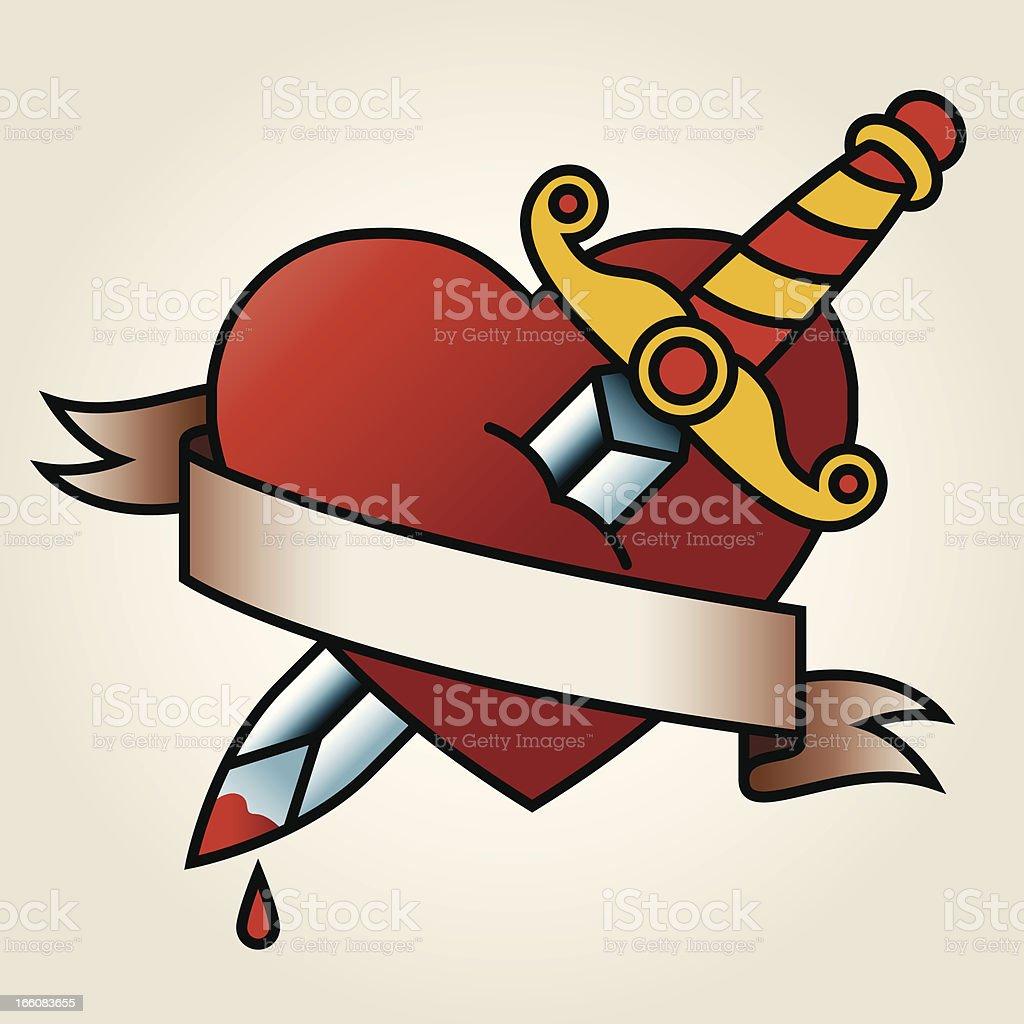 Classic Sailor-Tattoo Styled Bleeding Heart and Dagger vector art illustration