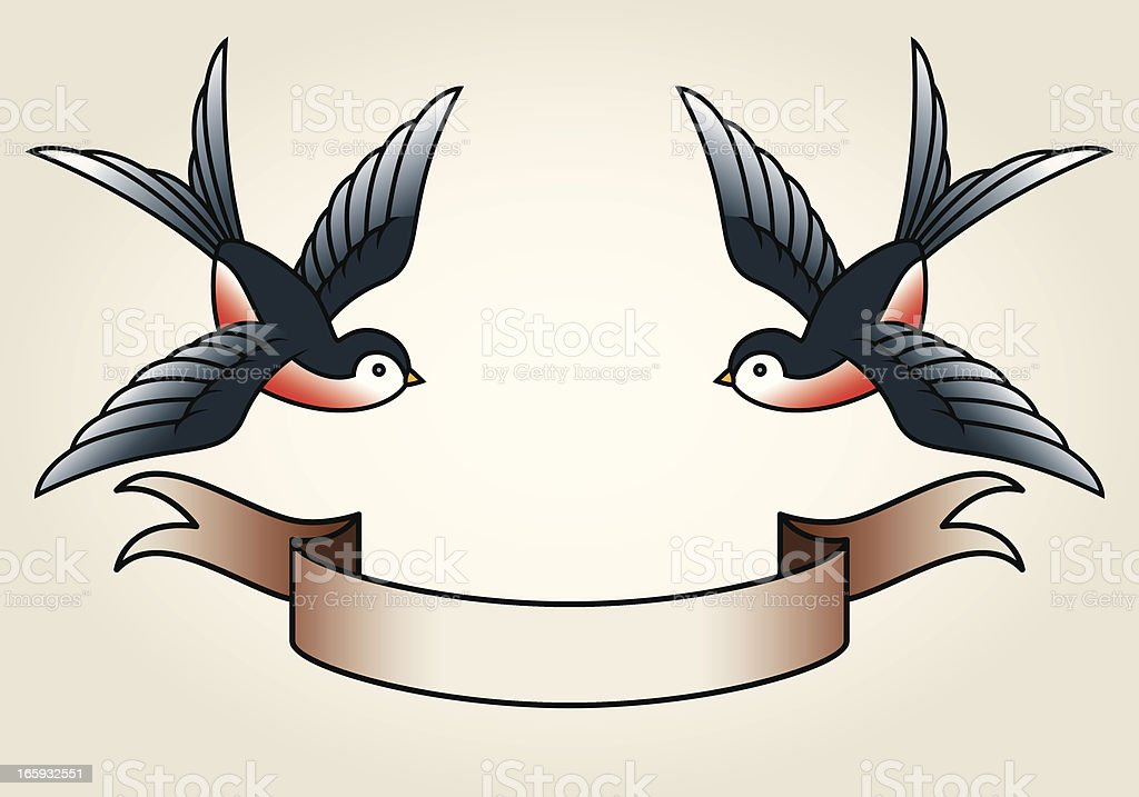Classic Sailor-Tattoo Styled Swallows and Banner vector art illustration