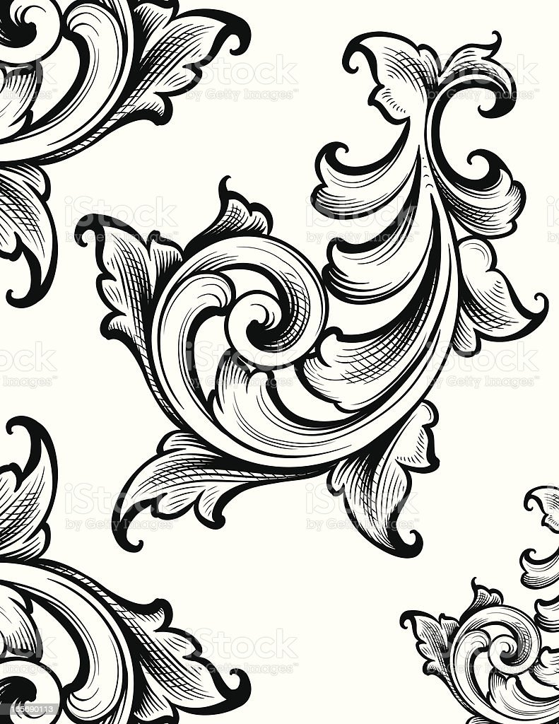 Classic Scroll Ornament royalty-free stock vector art