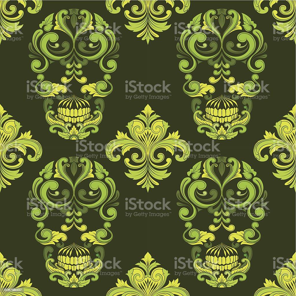 Classic Skull Ornamental Pattern vector art illustration