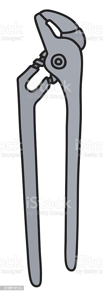 Classic steel wrench vector art illustration