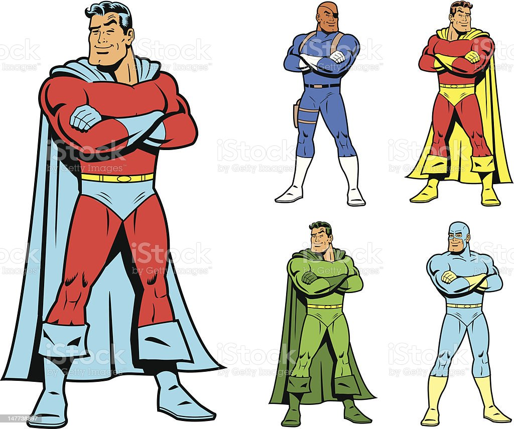 Classic Superhero and Cool Variations Image Set vector art illustration