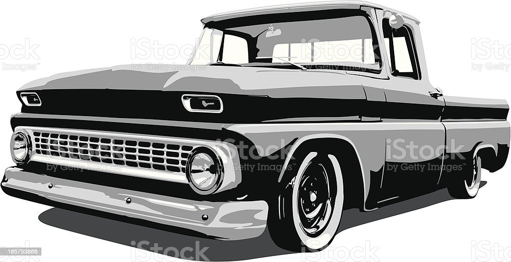 Classic Vector Pickup Truck vector art illustration