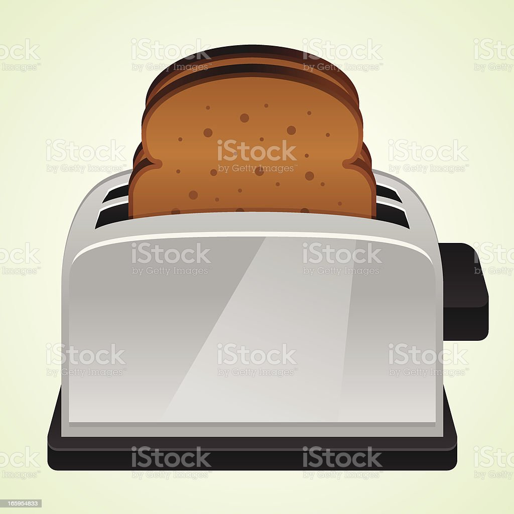 Classic vector pop-up toaster with bread vector art illustration