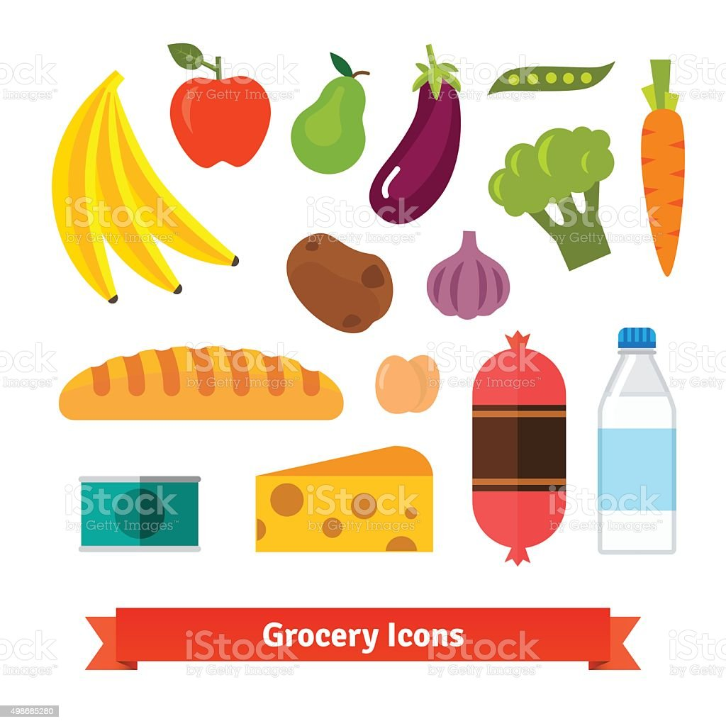 Classic vegetables, fruits and groceries vector art illustration