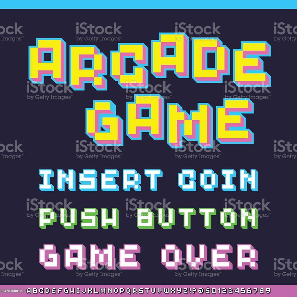 Classic Video Game Font vector art illustration