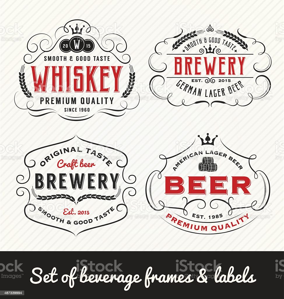 Classic Vintage Beverage Frame and Labels Design vector art illustration