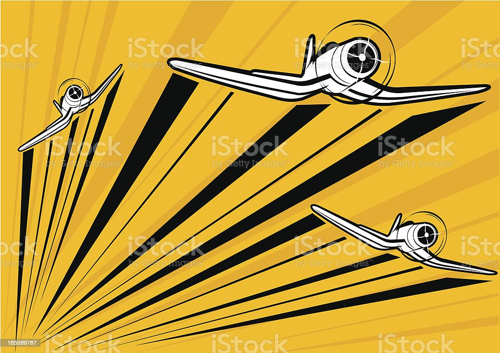 Classic war plane - P4U flying in formation royalty-free stock vector art