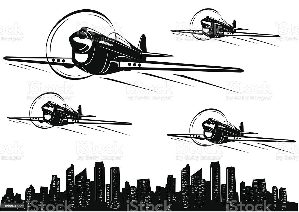 Classic war planes IV vector art illustration