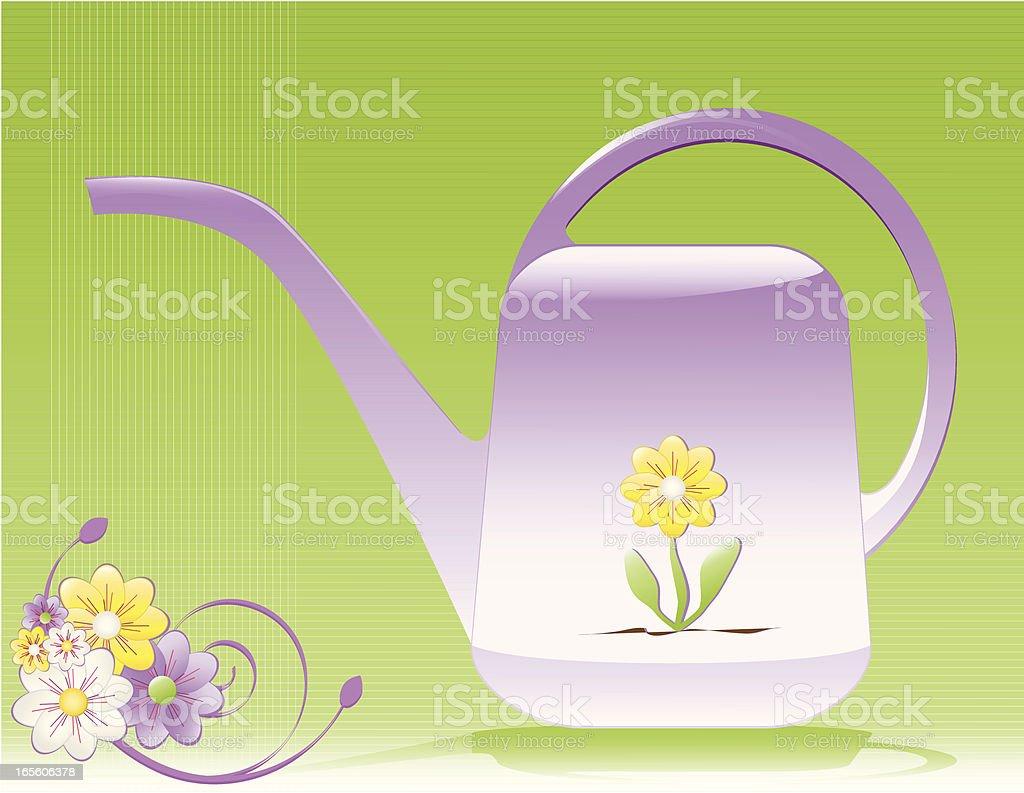 Klassische Gießkanne mit Blumenmotiv und Hintergründe Lizenzfreies vektor illustration