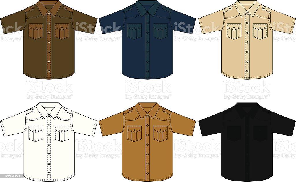Classic Western Shirt Short Sleeved vector art illustration