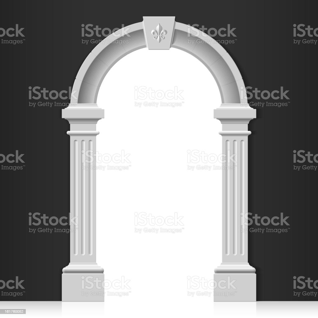 Classic white column arch doorway vector art illustration
