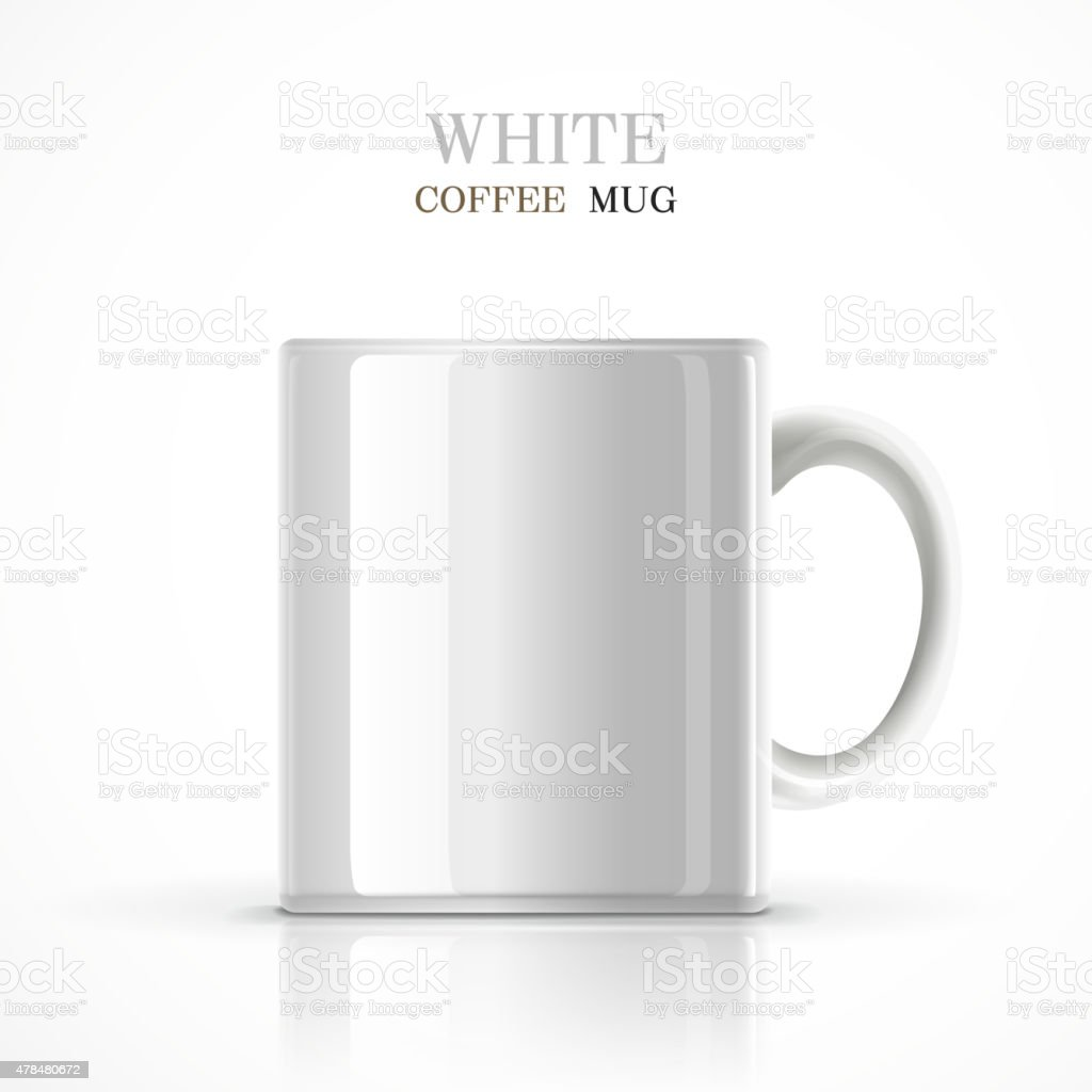 classic white mug vector art illustration