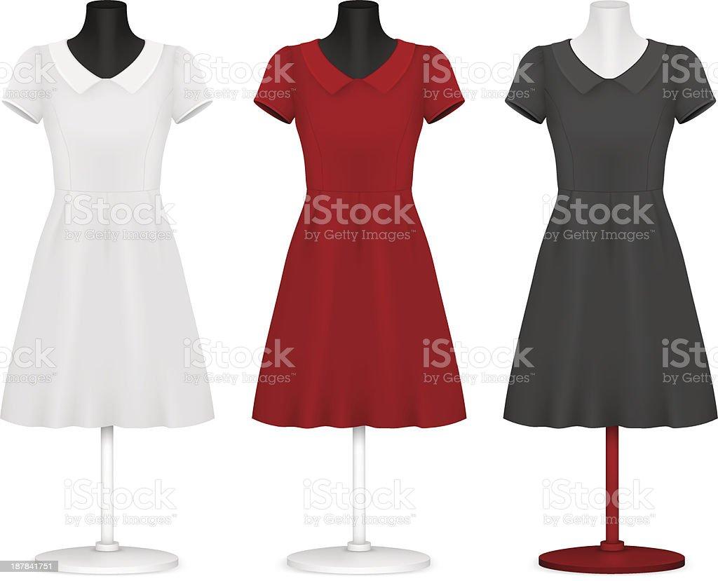 Classic women's plain dress template. vector art illustration